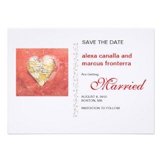 Decorative Hearts Wedding Save the Date Card Personalized Invite