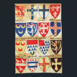 """Decorative Heraldry Pattern Kitchen Towel<br><div class=""""desc"""">coat of arms in multi colors. vintage painting with an image of an early roll of arms belonging to the society of antiquaries of london with various coat of arms in a  multi colored pattern.</div>"""