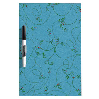 DECORATIVE HOLLY TEAL BLUE GREEN PAPER BACKGROUND DRY ERASE BOARD