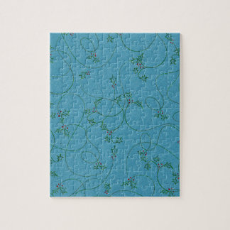 DECORATIVE HOLLY TEAL BLUE GREEN PAPER BACKGROUND PUZZLES
