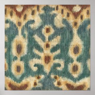 Decorative Ikat Fabric Design by Chariklia Zarris Poster