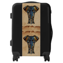Decorative India Pattern Elephants Blue Brown Luggage