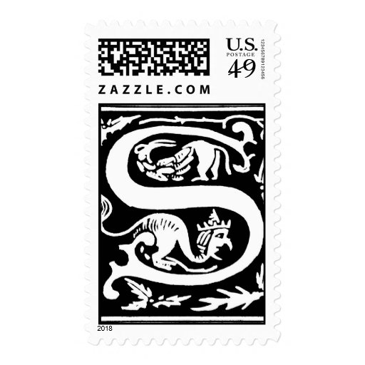 """Decorative initial letter """"S"""" from 16th Century Postage Stamps"""