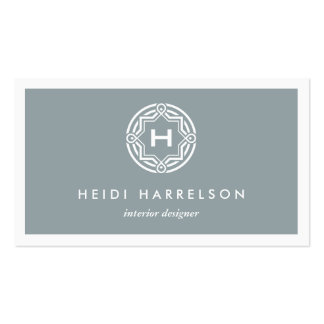 DECORATIVE INITIAL LOGO on SLATE GRAY Business Card