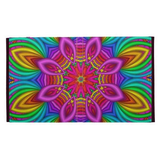 Decorative iPad folio case Rainbow fantasy flower