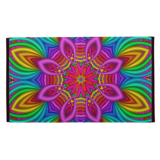 Decorative iPad folio case Rainbow fantasy flower