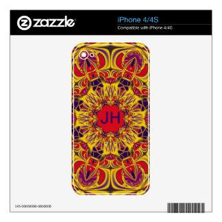 Decorative kaleidoscope design & monogram decals for the iPhone 4