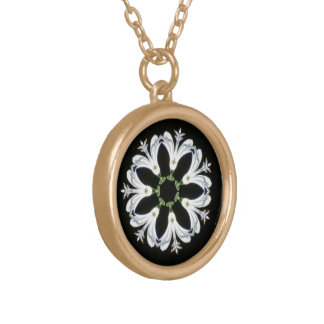 Decorative Kaleidoscope Flower Round Pendant Necklace