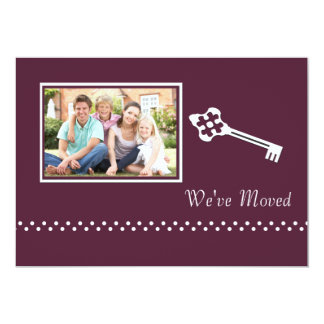 "Decorative Key Photo Moving Announcement 5"" X 7"" Invitation Card"