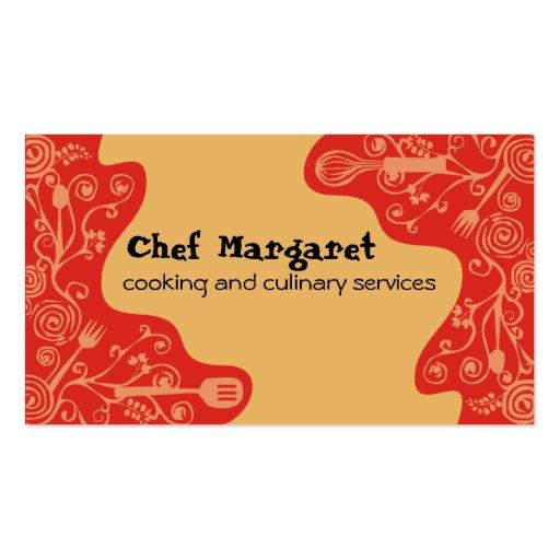 decorative kitchen utensils chef business cards