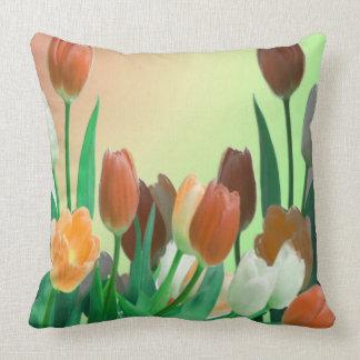 Decorative Large Orange Tulip Garden Throw Pillows