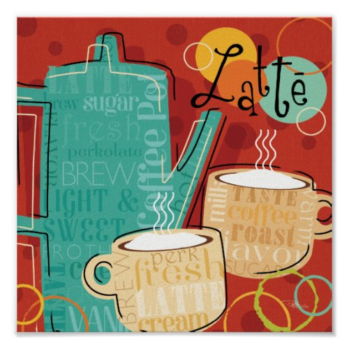 Latte Pot and Cups Poster