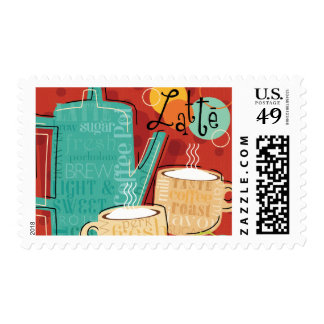 Decorative Latte Pot and Cups Stamp