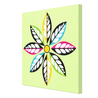 Decorative Leaves-Flower modern, abstract green Canvas Print