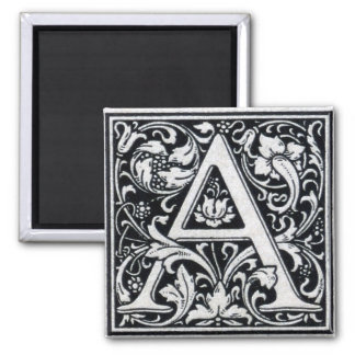 """Decorative Letter """"A"""" Woodcut Woodblock Inital 2 Inch Square Magnet"""
