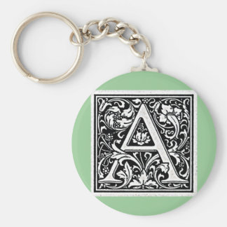 "Decorative Letter ""A"" Woodcut Woodblock Inital Basic Round Button Keychain"