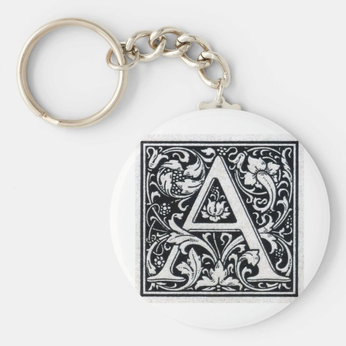 "Decorative Letter ""A"" Woodcut Woodblock Inital Keychain"