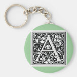 "Decorative Letter ""A"" Woodcut Woodblock Inital Keychains"
