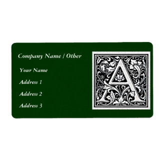 "Decorative Letter ""A"" Woodcut Woodblock Inital Label"
