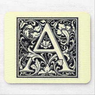 "Decorative Letter ""A"" Woodcut Woodblock Inital Mouse Pad"
