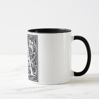 """Decorative Letter """"A"""" Woodcut Woodblock Inital Mug"""