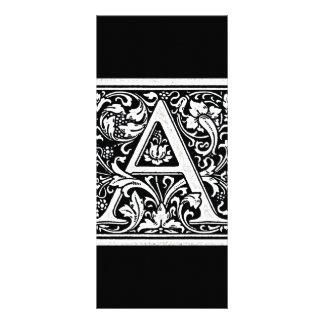 Decorative Letter A Woodcut Woodblock Inital Rack Card Template