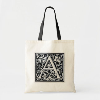 "Decorative Letter ""A"" Woodcut Woodblock Inital Tote Bag"