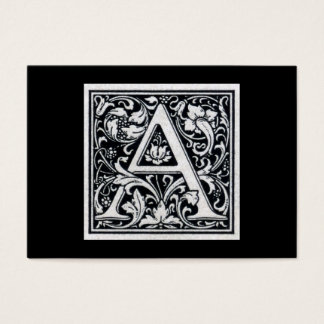 "Decorative Letter ""A"" Woodcut Woodblock Initial Business Card"