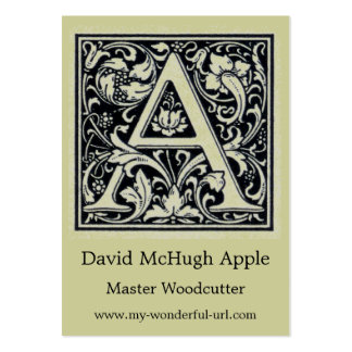 """Decorative Letter """"A"""" Woodcut Woodblock Initial Business Card Template"""