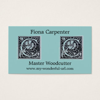 "Decorative Letter ""C"" Woodcut Woodblock Initial Business Card"