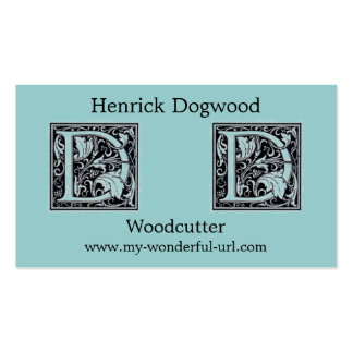 "Decorative Letter ""D"" Woodcut Woodblock InitIal Double-Sided Standard Business Cards (Pack Of 100)"