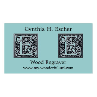 "Decorative Letter ""E"" Woodcut Woodblock Inital Double-Sided Standard Business Cards (Pack Of 100)"