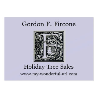 "Decorative Letter ""F"" Woodcut Woodblock Inital Business Card Templates"