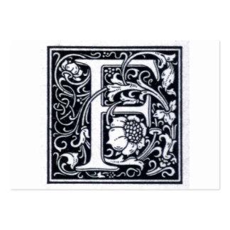 "Decorative Letter ""F"" Woodcut Woodblock Inital Business Card Template"