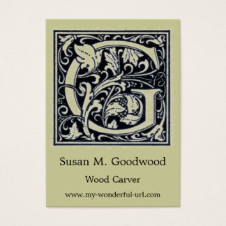 "Decorative Letter ""G"" Woodcut Woodblock Initial Business Card"