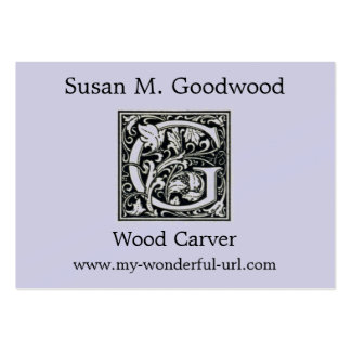 "Decorative Letter ""G"" Woodcut Woodblock Initial Large Business Cards (Pack Of 100)"