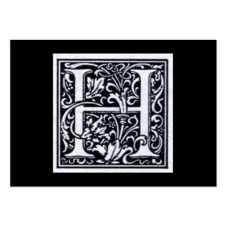 "Decorative Letter ""H"" Woodcut Woodblock Inital Business Cards"