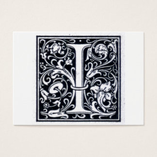 "Decorative Letter ""I"" Woodcut Woodblock Initial Business Card"