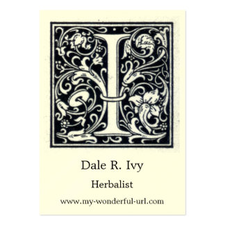 """Decorative Letter """"I"""" Woodcut Woodblock Initial Large Business Card"""