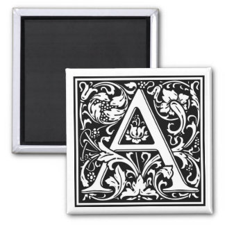 """DecorativeLetter Initial """"A"""" 2 Inch Square Magnet"""