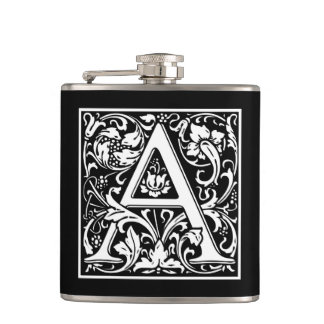 "DecorativeLetter Initial ""A"" Hip Flask"