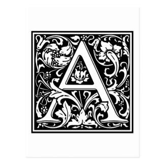 "DecorativeLetter Initial ""A"" Postcard"