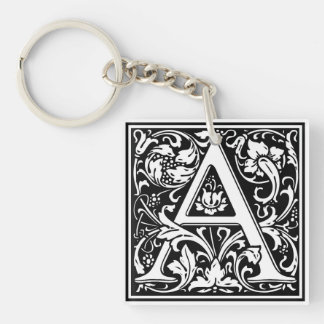 "Decorative Letter Initial ""A"" Single-Sided Square Acrylic Keychain"