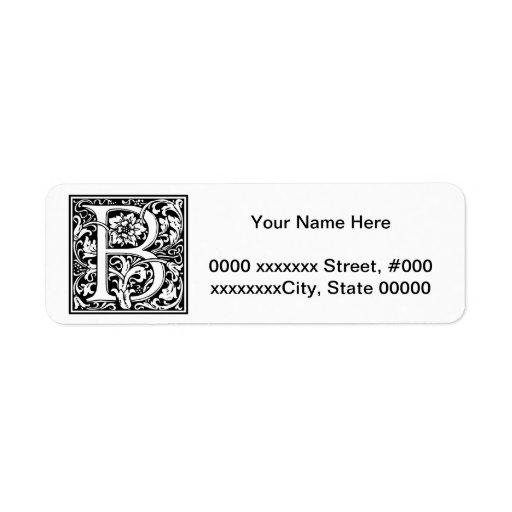 Decorative Letter Initial B Return Address Label