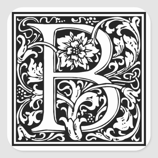 Decorative Letter A.Decorative Letter Initial B Square Sticker