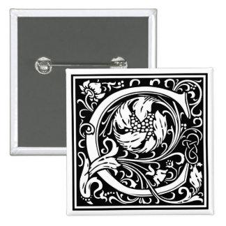 decorative letter initial c pinback button