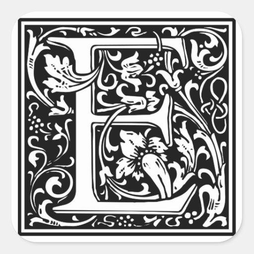 Decorative letter initial e square sticker zazzle for Decoration e