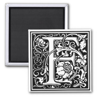 "DecorativeLetter Initial ""F"" 2 Inch Square Magnet"