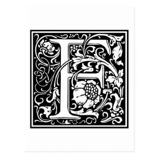 """DecorativeLetter Initial """"F"""" Postcard"""