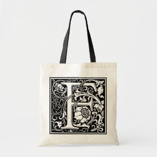 "Decorative Letter Initial ""F"" Tote Bag"